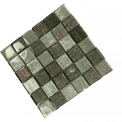 Top quality  Backsplash mosaic staggered texture mixed color glass mosaic used for bathroom or kitchen