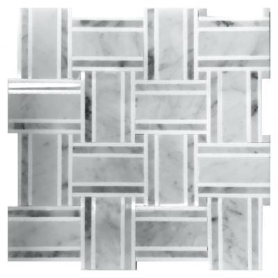 White marble and grey wooden basket weave pattern mosaic tile