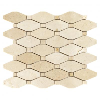 Natural CREMA MARFIL marble stone mosaic octag shape mosaic tiles for wall decoration