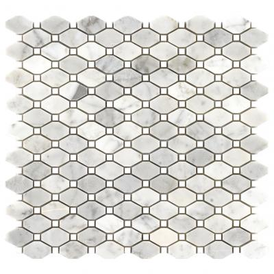 Bianco Carrara Marble Stone Mix Bardiglio Long Octagon Mosaic Tile