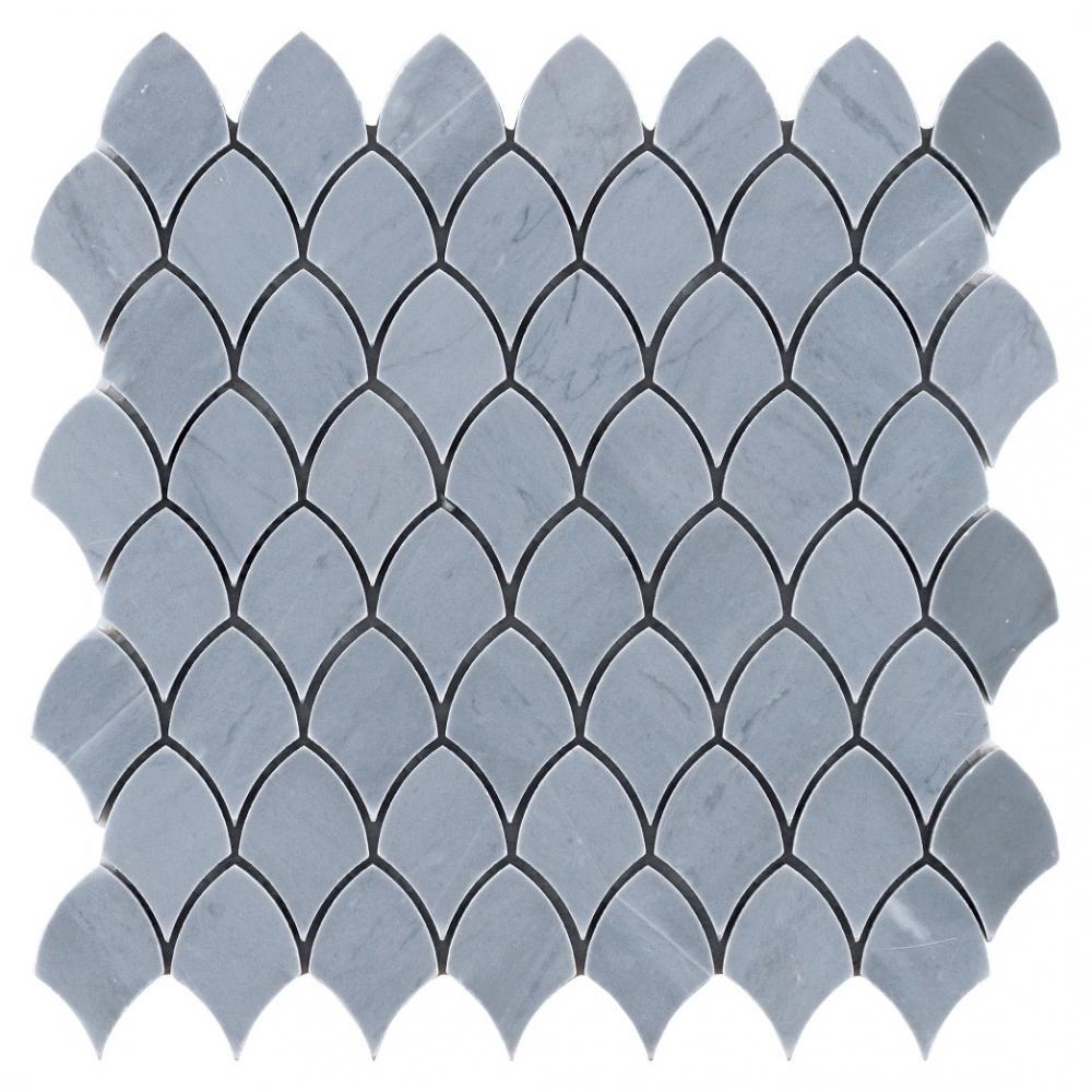 Modern Design  Grey and Carrara White shield shape Stone Mosaic for Backsplash and Wall