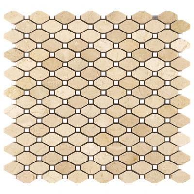 Natural crema marfil -thassos marble stone mosaic octag shape mosaic tiles for wall decoration