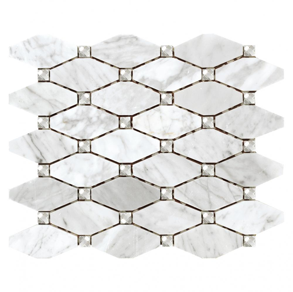 Italian white bianco carrara marble diamond shaped wall mosaic tiles
