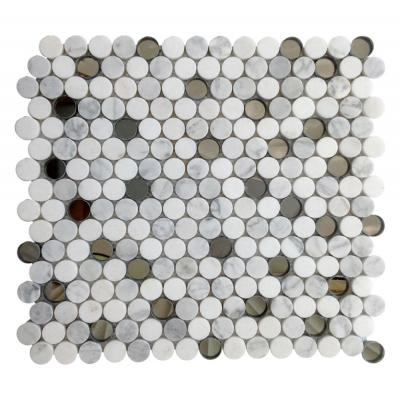 Calacatta  White Marble Penny Round Mosaic Tile