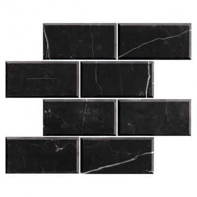 Polished black BEVELED Marble Tile Brick Mosaic for Wall and Floor