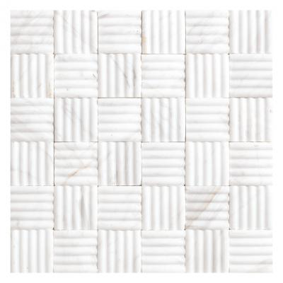 3D white Curved Basket Marble Mosaic
