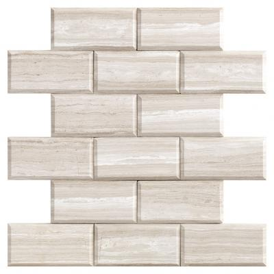 factory price GREYWOOD BEVELED marble brick shape mosaic tile for wall