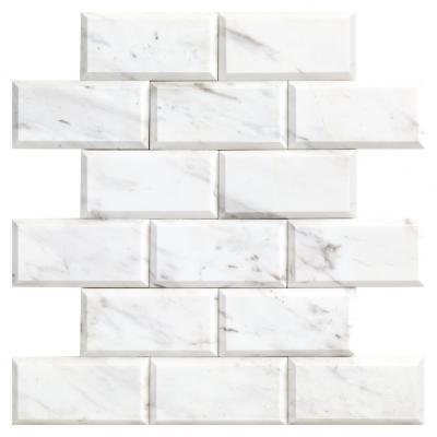 factory price VOLAKAS BEVELED marble brick shape mosaic tile for wall