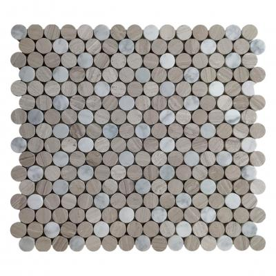 Honed white mix gray wooden marble mosaic penny pattern tile