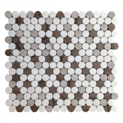 Round Penny stone mixed colour Mosaic Wall Tile