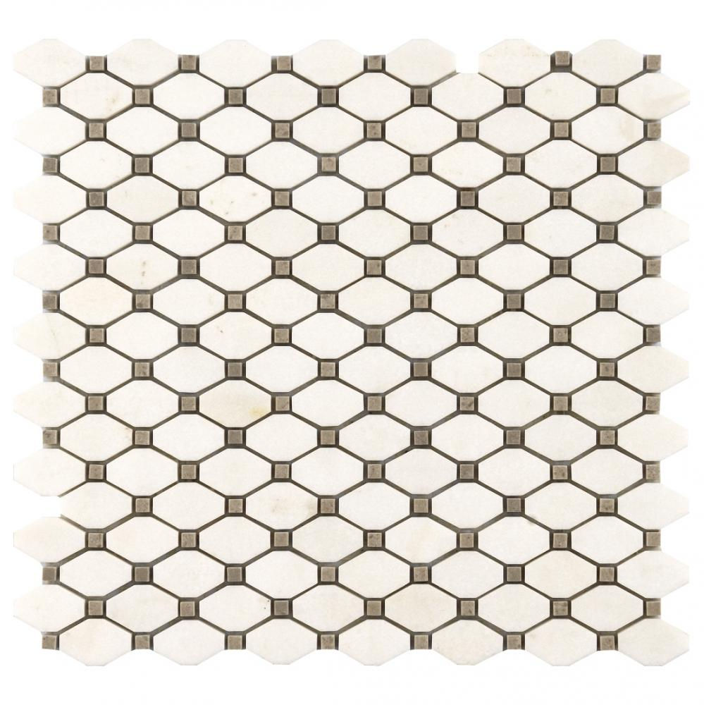 Natural THASSOS-BARDIGLIO marble stone mosaic octag shape mosaic tiles for wall decoration