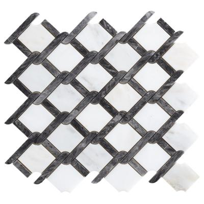 Marble Mosaic Tile Knitting Black and White