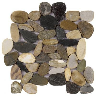 Tumbled Six Colors Marble Cobble Pebble Mosaic Tiles