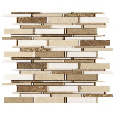 Top selling 8mm thickness stripe glass tile mixes stone mosaic for wall tile