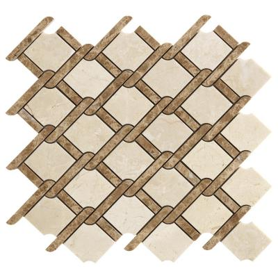 Lower Price Basket Weave Design CREAMMARIF Mosaic Tiles White Marble Hexagon Mosaic Tiles