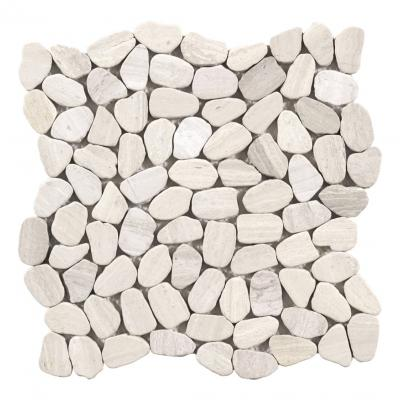 Mosaic stone square mix white and light grey