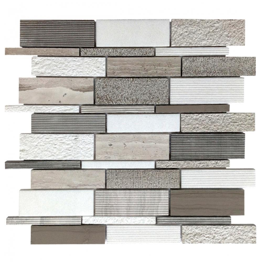 For bathroom wall covering decoration natural stone stripe grey wood marble mosaic