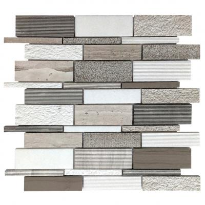 Long stripe white marble mosaic tile wall decoration