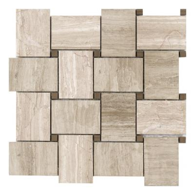prefab marble basket mosaic pattern ,stone mosaic for interior walls marble mosaic grey  tiles