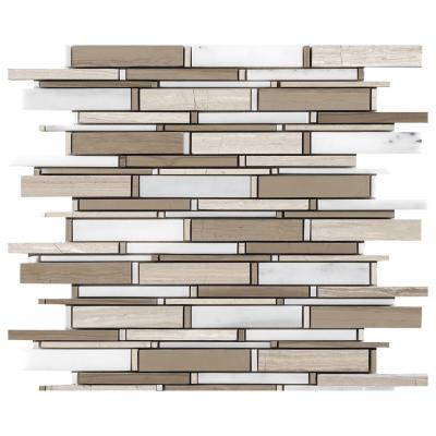 Factory high quality and cheap Irregular size crystal glass and stone stripe greywood and white mosaic