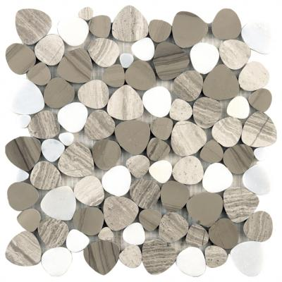 wood gray marble mosaic tile heart design for bathroom