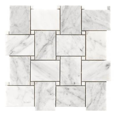 Polished basket weave THASSOS and CARRARA marble mosaic bathroom floor tile
