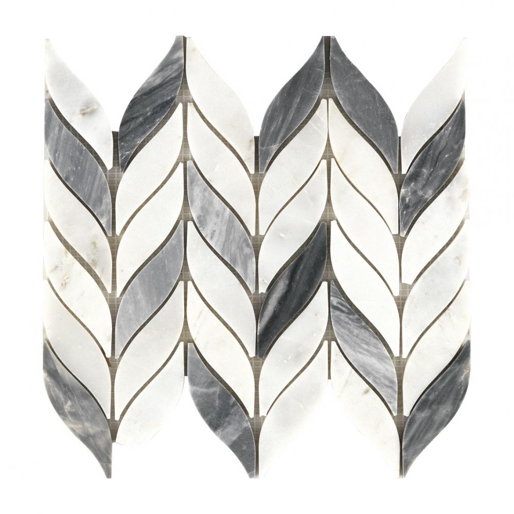 high quality low china herringbone water jet crystal white and nero black marble mosaic
