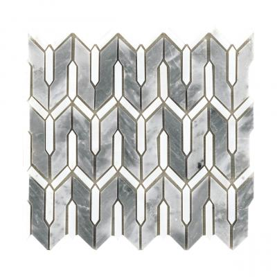 crystal white and blue stone water jet cut design pattern nature marble stone mosaic tile