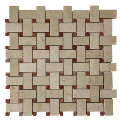 Honey Polished Basketweave Pattern Mesh Mounted cream marfil and red dots chinese onyx stone