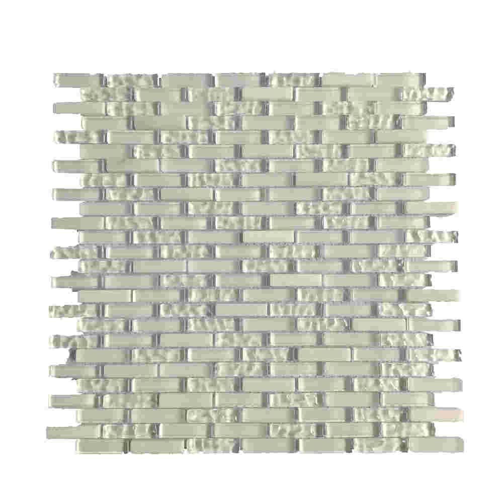 Classic pure white glass mosaic bathroom strip wall mosaic tile