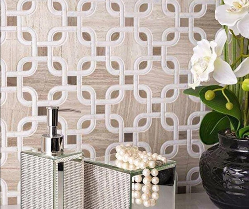White Wooden Marble Mosaic Tile